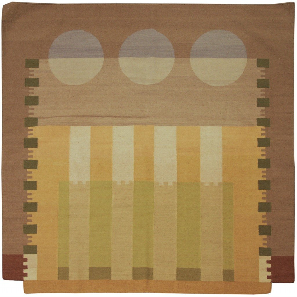 6x 6 Modern Dhurrie Square Rug designed by David Nicholls