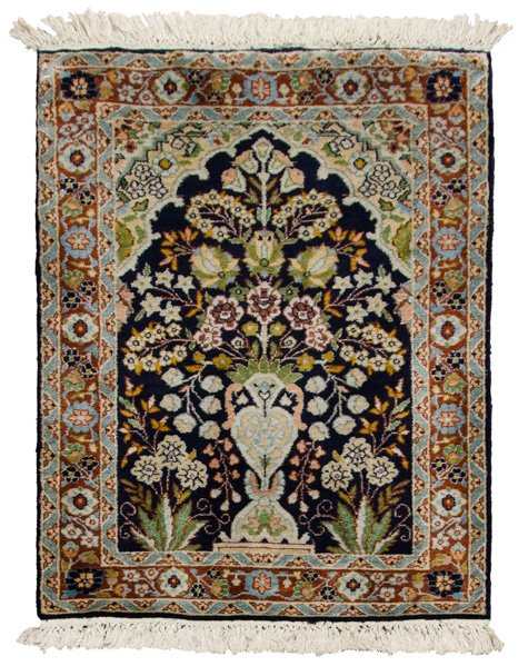 x2 Kashmir Tree of Life Hand-Knotted Silk Rug