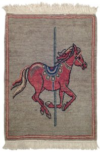 Pictorial Rug 2x2 Carousel Horse