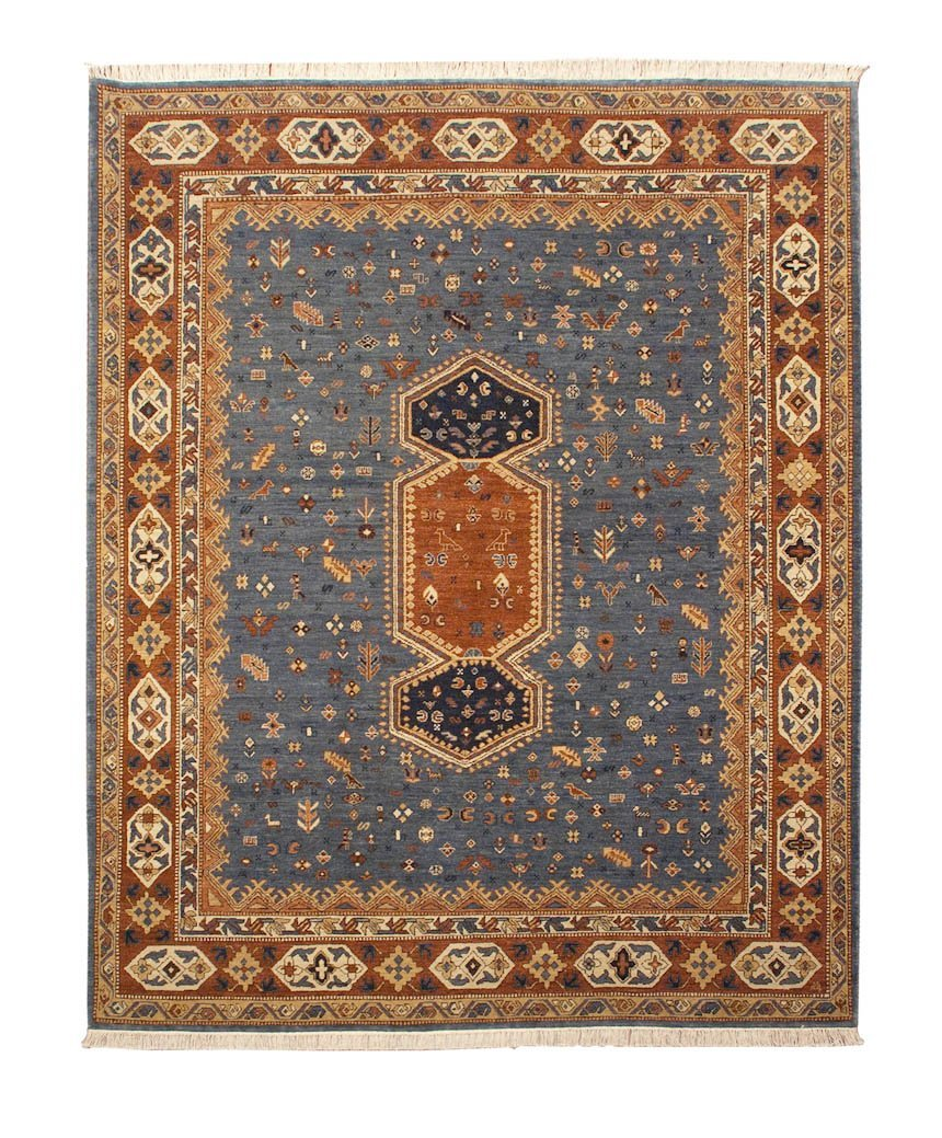Blue Geometric Armenian Rug 8'x10′