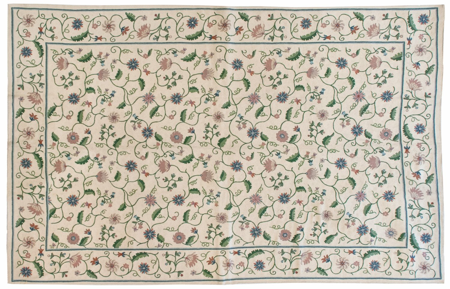 6x9 Vintage Crown Kashmir Chain Stitch Rug