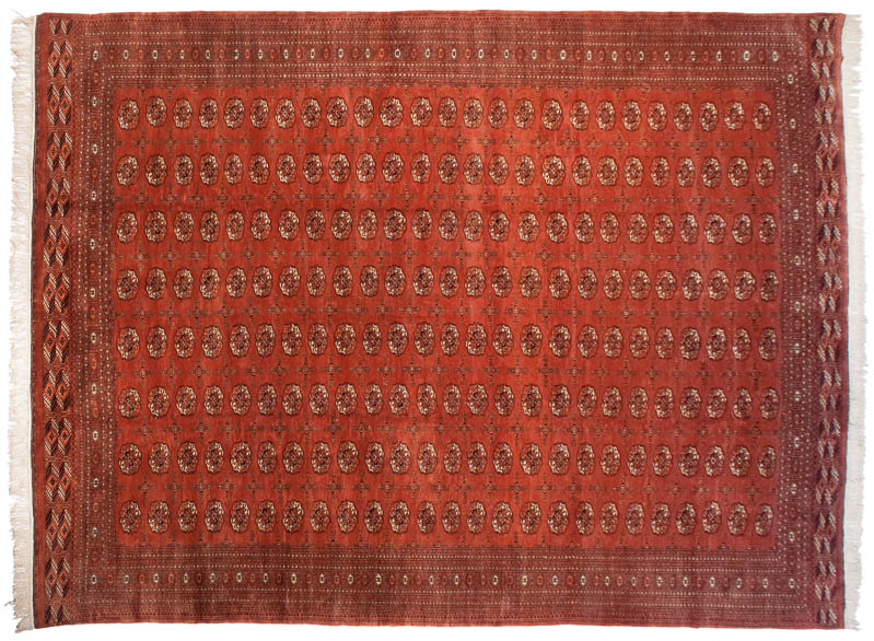 12x16 Bokhara Design with Repeating Gul Covered Field Rug