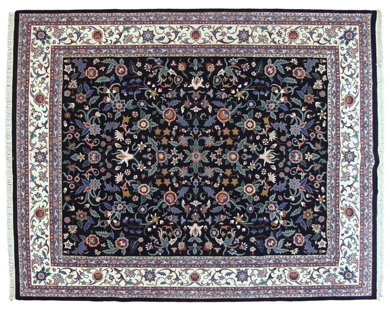 12x15 Floral Tabriz Design All-Over Covered Field Rug