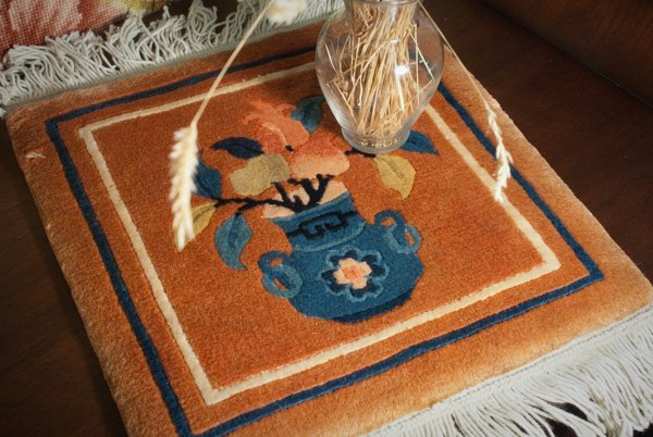 12x12 Peking Wool Rug Mat - Vase Design
