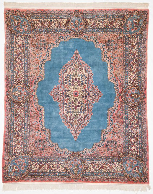 6×7 Persian Kerman Blue Oriental Rug