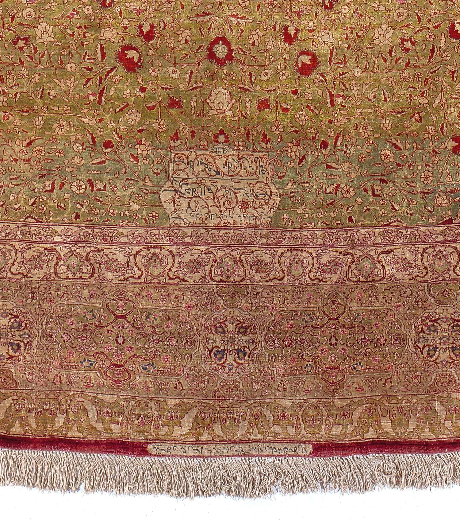 Large Antique Silk Persian Tabriz Palace Rug 28411