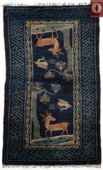 Deer Motif Small Oriental Scatter Rug 021388