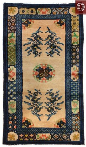 Small Rug Chinese Ivory Blue