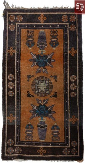Antique Chinese rug with Vases 021363