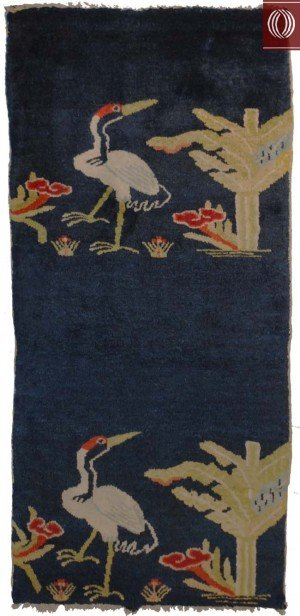 Antique Chinese Scatter Rug with Bird Crane 021365