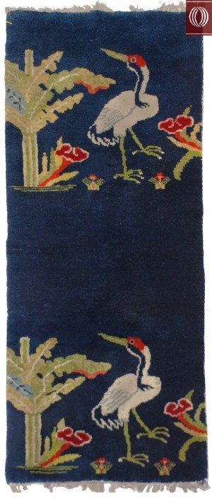 Antique Chinese Rug birds, Crane and Tree