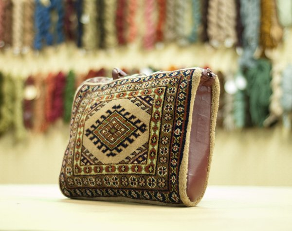 Vintage Turkman Handmade Carpet Bag Purse